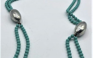 DOUBLE STRAND TURQUOISE BEADED LARGE STERLING NECKLACE