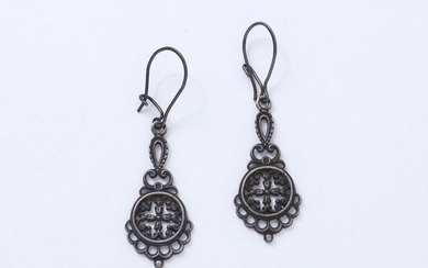 Delicate pair of Berlin cast iron earrings decorated...