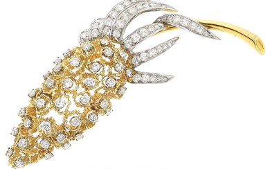 Diamond, Platinum, Gold Brooch The articulated thistle brooch features...