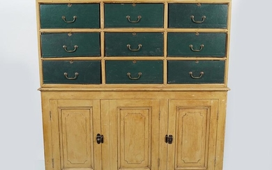EDWARDIAN PAINTED LIBRARY CABINET