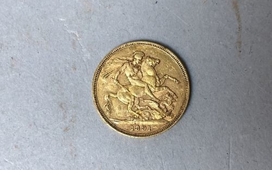 ENGLAND. Sovereign 1891 in profile of Queen Victoria....