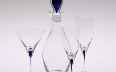 ERIKA LAGERBIELKE, GLASS 16 pieces and CARAFF, Orrefors model Intermezzo.