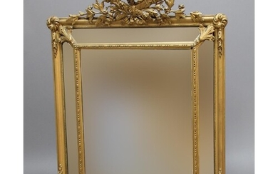 FRENCH GILT GESSO CUSHION MIRROR, 19th century, the bevelled...