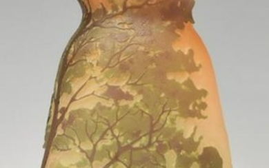 FRENCH LEGRAS FOREST LANDSCAPE CAMEO GLASS VASE