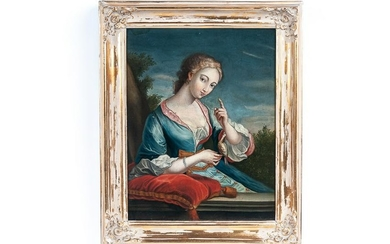 """FRENCH SCHOOL: """"PORTRAIT OF A WOMAN WITH SONG BIRD"""""""