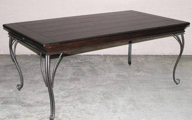 FRENCH STYLE DINING TABLE W/ WROUGHT IRON CABRIOLE LEGS
