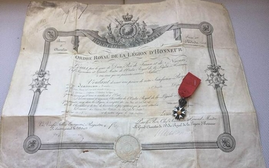 France - Army/Infantry - Half-size legion of honor and his diploma as captain of infantry signed by the king of France - 1819