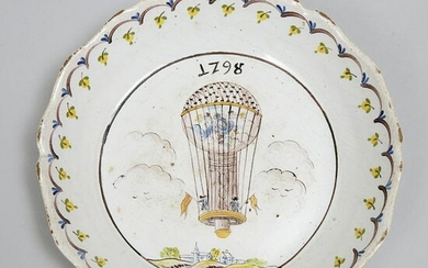 French Faience Hot Air Balloon Plate, dated 1798