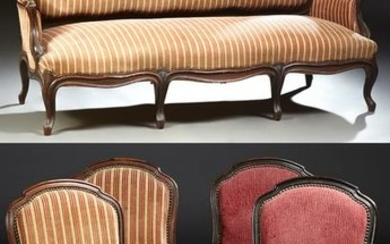 French Louis XV Style Carved Mahogany Five Piece Parlor