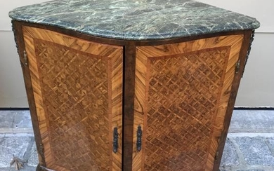French Style Corner Form Console w Marble Top