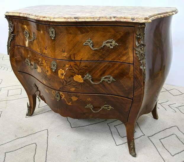 French Style Inlaid Commode Dresser Chest. Bombay form