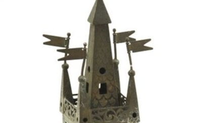 GERMAN SILVER SPICE-TOWER. Of tower form, the square container...