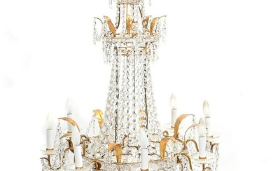 Gilt Metal Framed Eight Light Chandelier with Glass