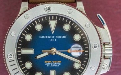 Giorgio Fedon - Automatic Aquamarine Stainless Steel Blue Dial Brown Leather Strap - GFCR001 - Men - 2011-present