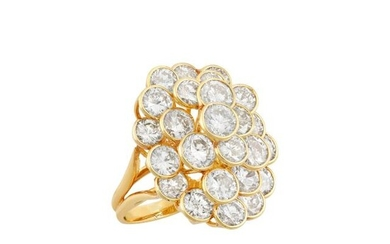 Gold and Diamond Honeycomb Cluster Ring