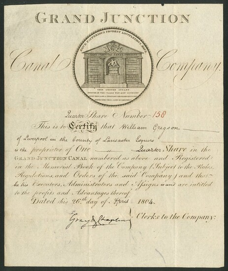 Lot-Art   Great Britain: Grand Junction Canal Company, [quarter] share, 180[4], #158, vignette of the com...
