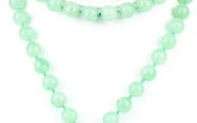 Green Jade Beaded Necklace Large Carved Pendant