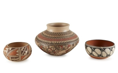 Group of three Southwest pottery vessels Various makers, 20th...
