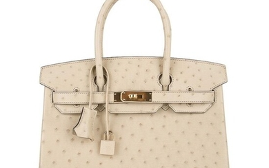 HERMES BIRKIN 30 IN PARCHEMIN OSTRICH, GOLD HARDWARE