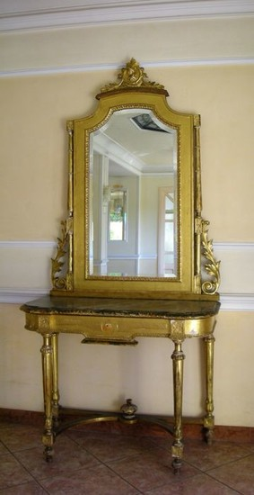 Inlaid and gilt wood console table with cut glass mirror - 20th century