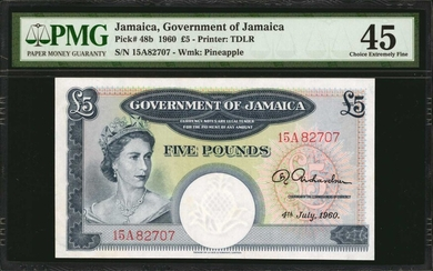 JAMAICA. Government of Jamaica. 5 Pounds, 1960. P-48b. PMG Choice Extremely Fine 45.