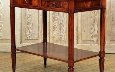 JANSEN QUALITY MAHOGANY LEATHER CONSOLE TABLE