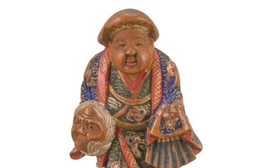 """JAPANESE POLYCHROME WOOD NETSUKE By Nagamachi Shuzan. In the form of a figure carrying a mask and folded fan. Signed. Height 1.75""""."""