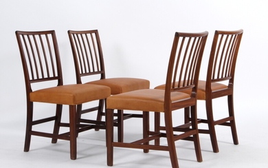 Jacob Kjær, 'Pariser stolen' a set of dining table chairs in mahogany (4)