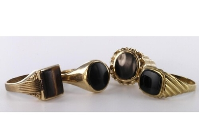 Job lot of 9ct hallmarked Gold Onyx and Tigers Eye Gents Rin...