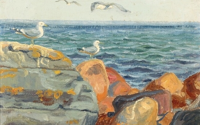 Johannes Larsen: View with seagulls on a rocky coast. Signed with monogram and dated 32. Oil on canvas. 34×43 cm.