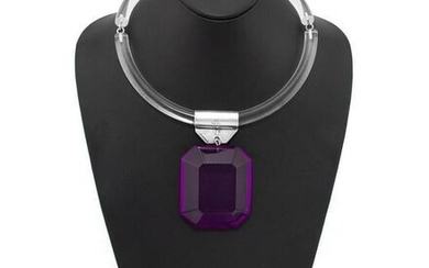 Judith Hendler Acrylic ring necklace with purple