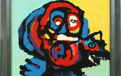 KAREL APPEL OIL ON CANVAS, ABSTRACT PORTRAIT