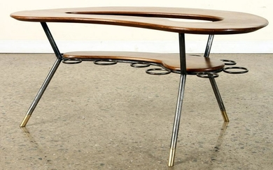KIDNEY SHAPED WOOD AND IRON COFFEE TABLE