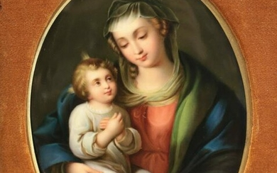 KPM Hand Painted Porcelain Plaque - Madonna & Child