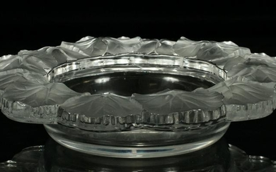 """LALIQUE, FRANCE, CRYSTAL CANDY DISH, H 2"""", DIA 9"""""""