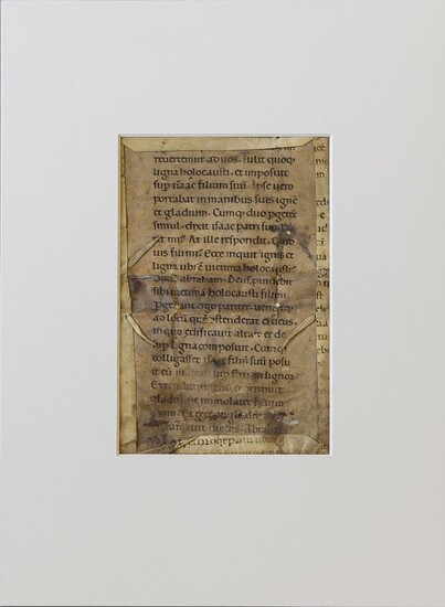 LATIN MS. Romanesque leaf fragment from the Vulgate, decorated ms. on parchment.