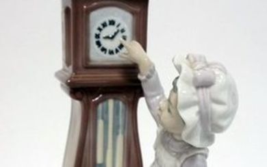LLADRO FIGURE, GIRL CAT AND CLOCK