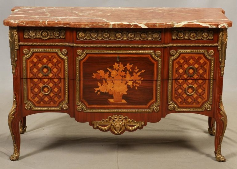 LOUIS XVI STYLE, MARBLE TOP COMMODE