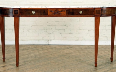 LOUIS XVI STYLE MARBLE TOP MAHOGANY CONSOLE C1910