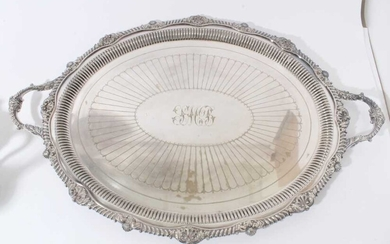 Late Victorian silver plated two handled oval tray with shell and gadrooned border, by the Goldsmiths & Silversmiths Company