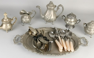 Lot + old tin plated flatware. 20th century. Include
