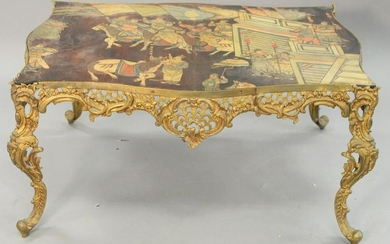 Louis XV style brass table, having Chinese panel top.