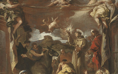 Luca Giordano (Naples 1634-1705), Saint Anthony of Padua and the unbeliever's mule adoring the sacrament