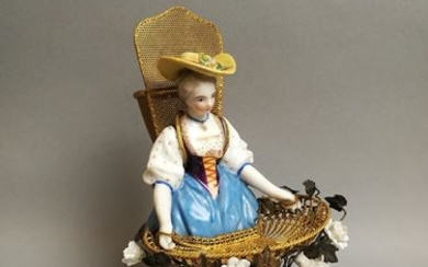Matchboxes, match holders? Woman with the basket. Porcelain...