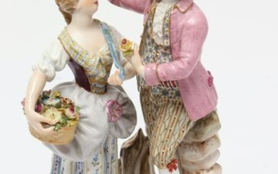 Meissen Porcelain Figural Group, Courting Couple