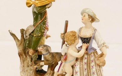 Meissen Porcelain Figure Group with Bugler 7''x6''. An