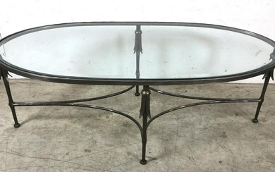 Metal and glass oval low table