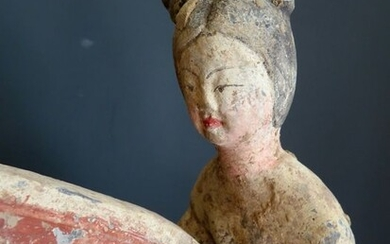 Mingqi - Pottery - Outstanding female polo rider - with TL test - China - Tang Dynasty (618-907)