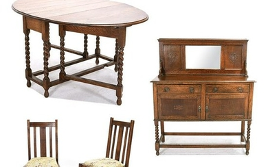 Mission Style Oak Dining Suite Consisting of Table