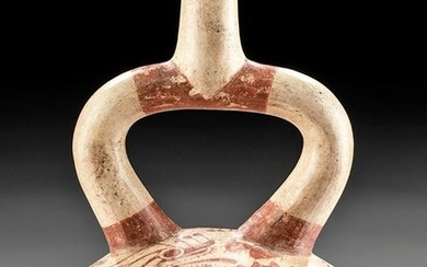 Moche Fineline Stirrup Vessel - Strombus Monster